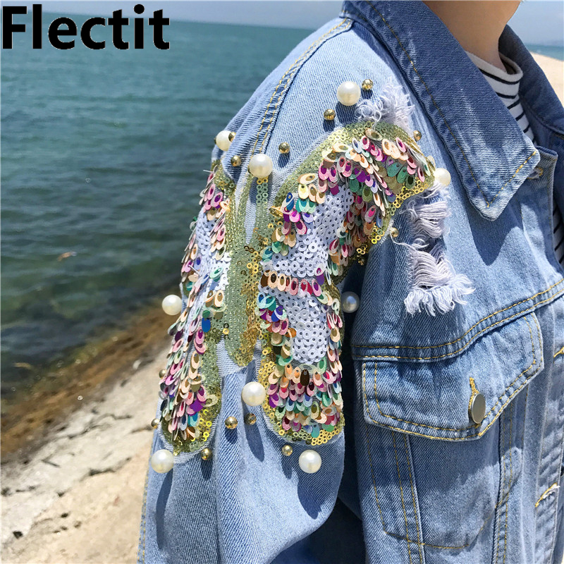 Flectit Studded Pearl & Sequin Denim   Jacket   Women Jeans   Jacket   Vintage 80s Oversize Long Sleeve   Basic     Jackets   Plus Size 5XL