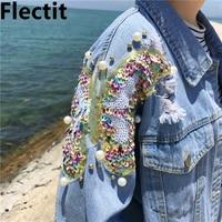 Flectit Studded Pearl & Sequin Denim Jacket Women Jeans Jacket Vintage 80s Oversize Long Sleeve Basic Jackets Plus Size 5XL