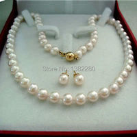 Free Shipping Fashion DIY Jewelry AAA 8 9MM Natural White Akoya Cultured Pearl Necklace Earring Set