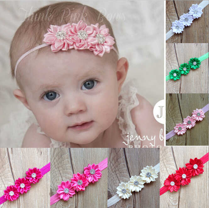 Kids 2 layer with diamond Polyhedrosis flower hair accessories headdress Elastic hair band Headwear Kids photographed props A309