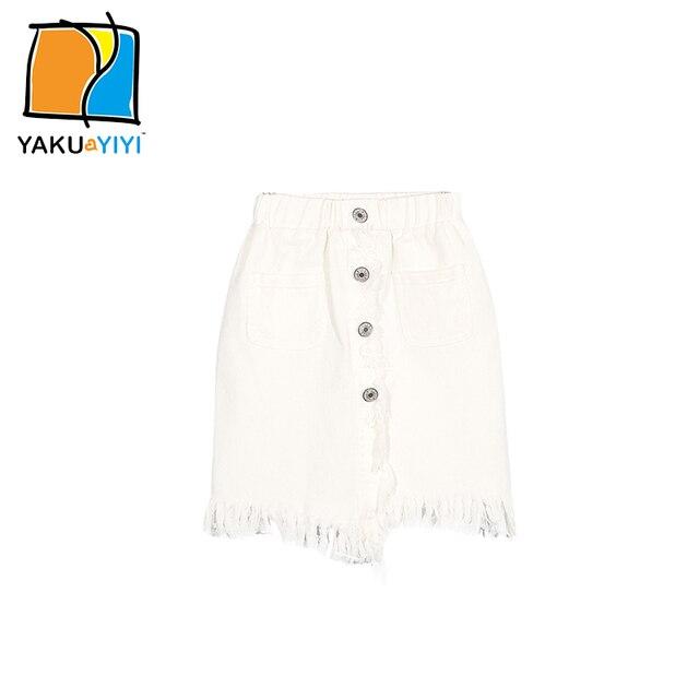 b39cd9a50b83 YKYY YAKUYIYI Solid White Girl Skirt tassel Pockets Single Breasted ...