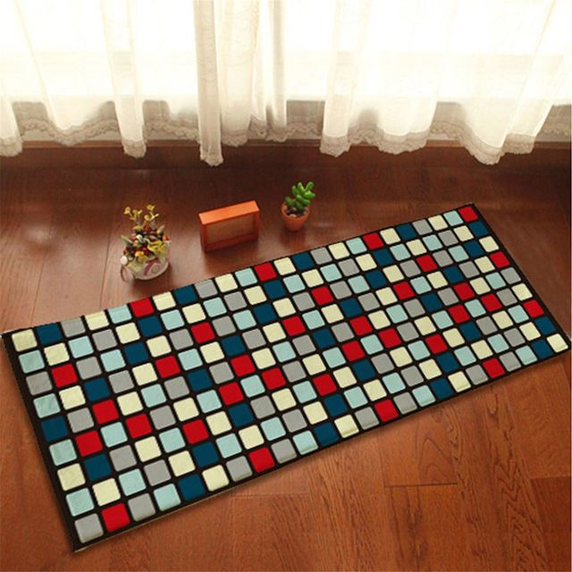 Flannel Colorful Squares Floor Rug Anti Slip Soft Door Mat Kitchen ...