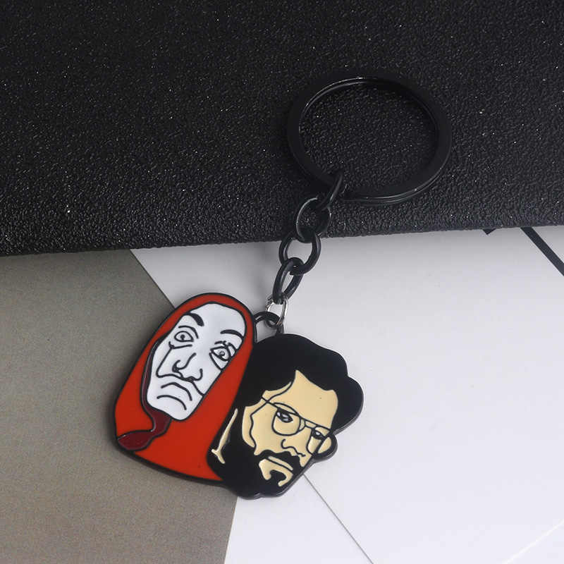 35a0aa6d0 ... The House of Paper Money Heist Keychain La Casa De Papel Salvador Dali Professor  Funny Key ...