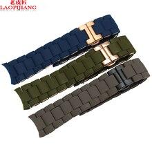 Laopijiang 23mm AR5920 AR5890 AR5905 hombres y mujeres reloj de la correa correa de silicona azul verde del ejército