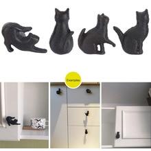 4pcs Creative Cat Shape Design Cupboard Drawer Handle Knob Pull Kitchen Cabinet Door Wardrobe Handles Hardware