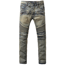 Men's fashion vintage blue scratched bottom biker jeans Casual large size pleated stretch denim pants High quality long trousers