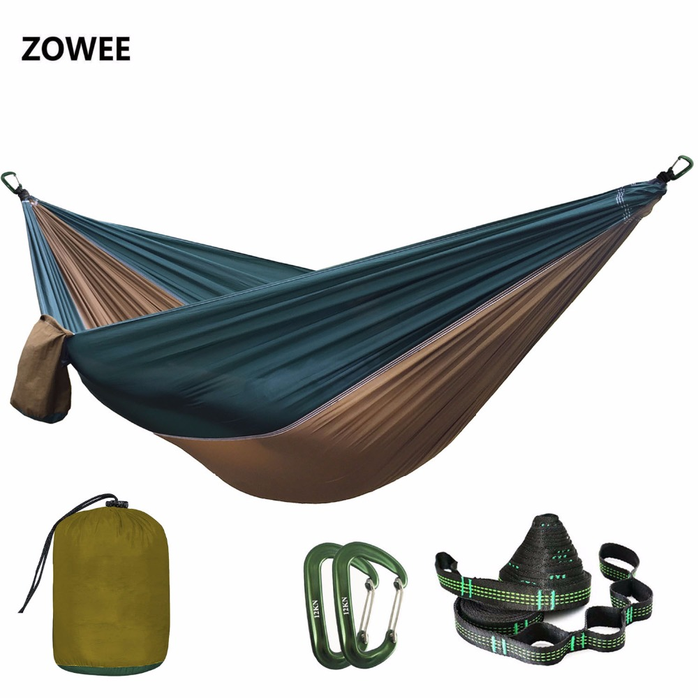 Solid Color Parachute Hammock With Hammock Straps And Aluminum Carabine Camping Survival Travel Double Person Outdoor Furniture