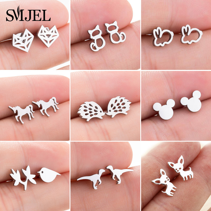 SMJEL Stainless Steel Mickey Stud Earrings for Women Girls Minimalist Fox Cat Hedgehog Earings Jewelry Animal Accessories Gifts(China)