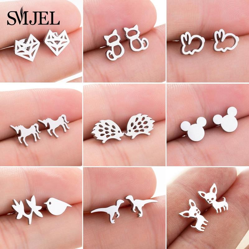 SMJEL Stainless Steel Mickey Stud Earrings For Women Girls Minimalist Fox Cat Hedgehog Earings Jewelry Animal Accessories Gifts