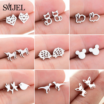 SMJEL Stainless Steel Mickey Stud Earrings for Women Girls Minimalist Fox Cat Hedgehog Earings Jewelry Animal Accessories Gifts abstract heart stud earrings stainless steel minimalist hollow heart stud earrings for women girls jewelry accessories gifts