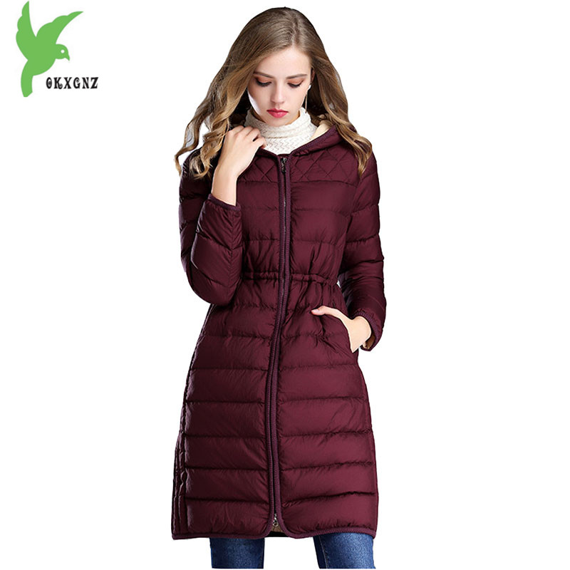High quality women winter jacket coats Light thin warm parkas Medium length jackets Plus size female Feather cotton coats OKXGNZ 2018 new women winter down cotton jacket coats plus size 7xl long style parkas light thin hooded warm cotton jackets okxgnz 1253