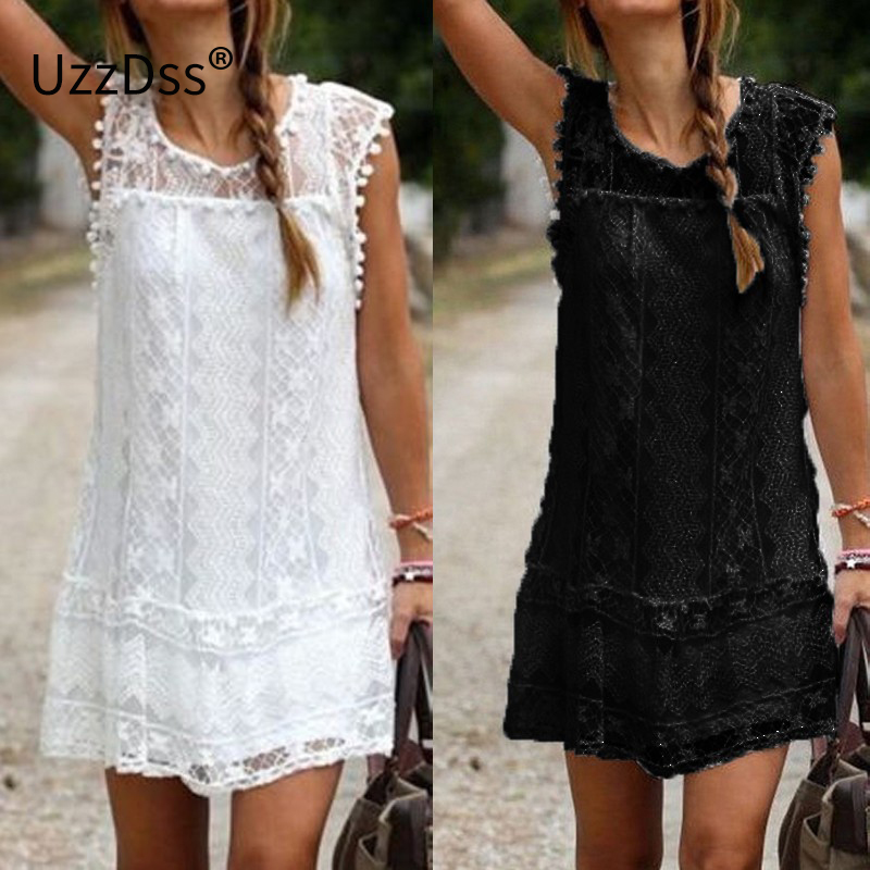 9f14fe8ba92ba US $11.47 18% OFF|UZZDSS Summer Dress 2018 Women Casual Beach Short Dress  Tassel Black White Mini Lace Dress Sexy Party Dresses Vestidos S XXL-in ...