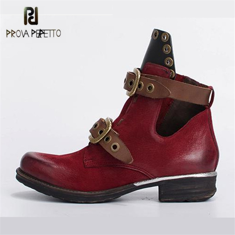 Prova Perfetto Wine Red Women Ankle Boots Belt Straps Autumn Winter Short Boots Genuine Leather Platform Rubber Shoes Woman prova perfetto black handmade women genuine leather mid calf boots buckle straps martin boots women platform rubber shoes woman