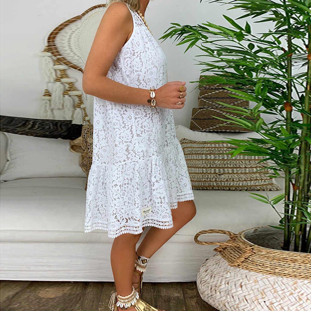 فستان نسائي صيفي أبيض من Bohe مزين بالزهور من الدانتيل بدون أكمام فستان قصير للحفلات متوهج فستان صيفي للشاطئ فساتين جديدة