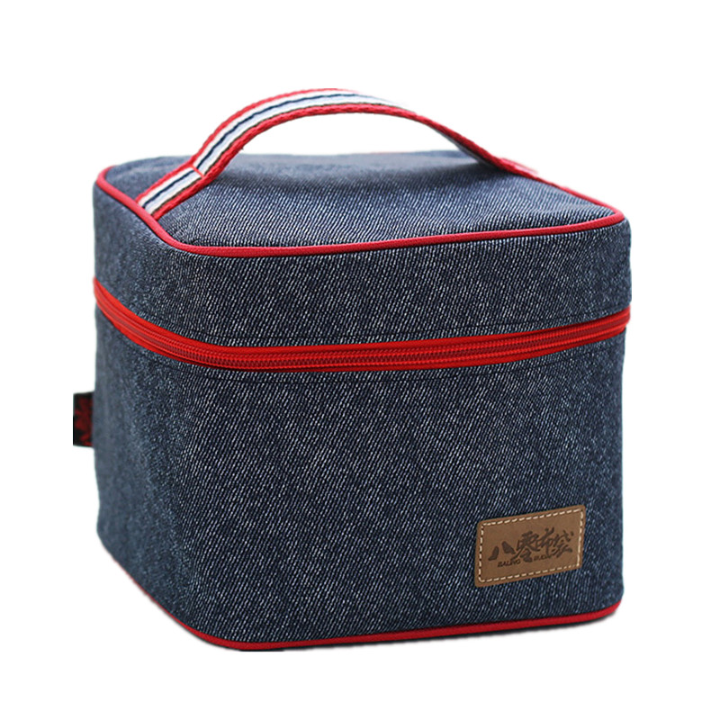 Denim Picnic Square Lunch Bags Womens Handbag Kid Box Insulated Pack Drink Food Snack Thermal Leisure Accessories Supplies ...