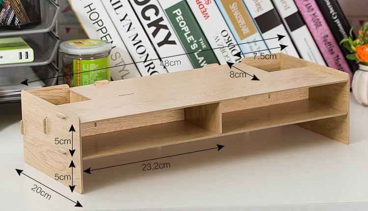 New Desk Storage Wood DIY Increase Computer Display ...