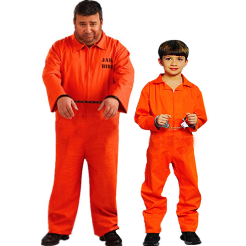 17c32ff287ef 2018 New Mens Prisoner Cosplay Costume Convict Criminal Zombie Party  clothing high quality Jail Man Carnival