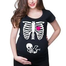 Женская Повседневная Одежда для беременных, короткий рукав, принт скелета, топы, рубашка для беременных повседневный, Одежда для беременных, топ Zwangerschaps, рубашка