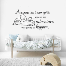 цена Wall Vinyl Sticker Winnie the Pooh Quote Wall Decal Nursery Babys Room Decoration Removable Vinyl Winnie The Pooh Murals AY1482