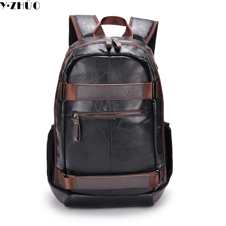 high quality leather man backpacks mochila school duffel bags 15.6 inches shoulder Laptop crossbody bag men travel luggage bags стиральная машина candy gvs4 126dw3 2 07