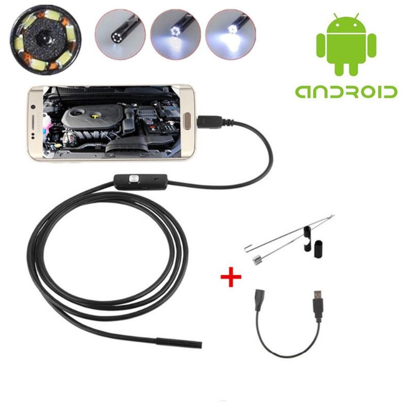 Black 6LED 1M 7mm Lens USB Endoscope Camera HD Waterproof pipe inspection Borescope for Android PC Phone & Notebook Device new 7mm 6led lens 2 meters endoscope for android windows ip67 waterproof usb inspection camera vehicle borescope
