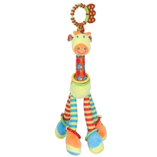 HAPPY MONKEY Plush + pp cotton Infant Baby Development Soft Giraffe Animal Handbells Rattles Handle Toys WIth Teether Toy