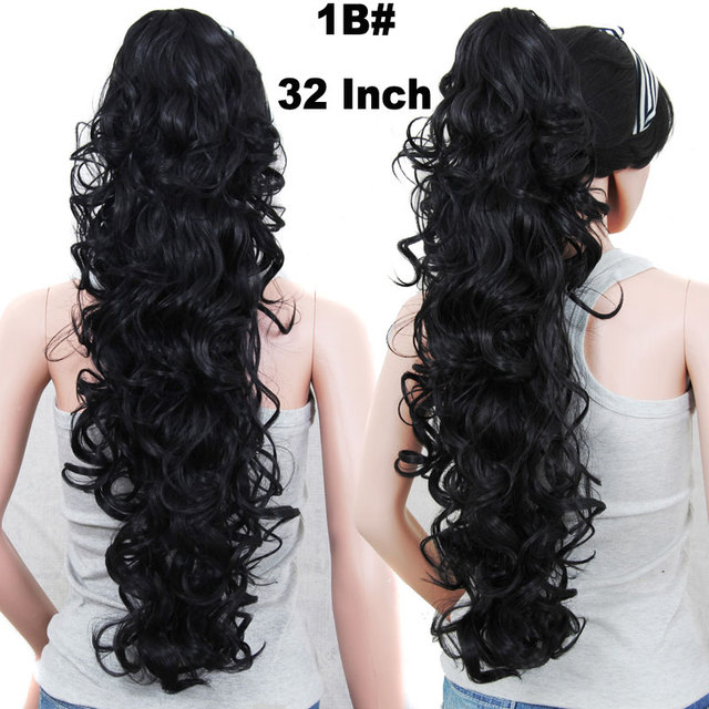 Long Curly Ponytail Hairpieces Claw Fake Ponytails Black Hair Extension Pony Tail Horse Tress