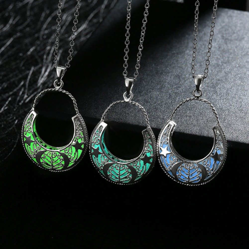 silver pierced in water for jewelry locket hollow pendant drop from glow women item necklaces luminous plated vintage glowing necklace dark