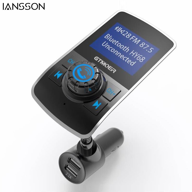 2017 New Bluetooth Car Kit Handsfree FM Transmitter MP3 Music Player 1 44 Inch Larger Screen
