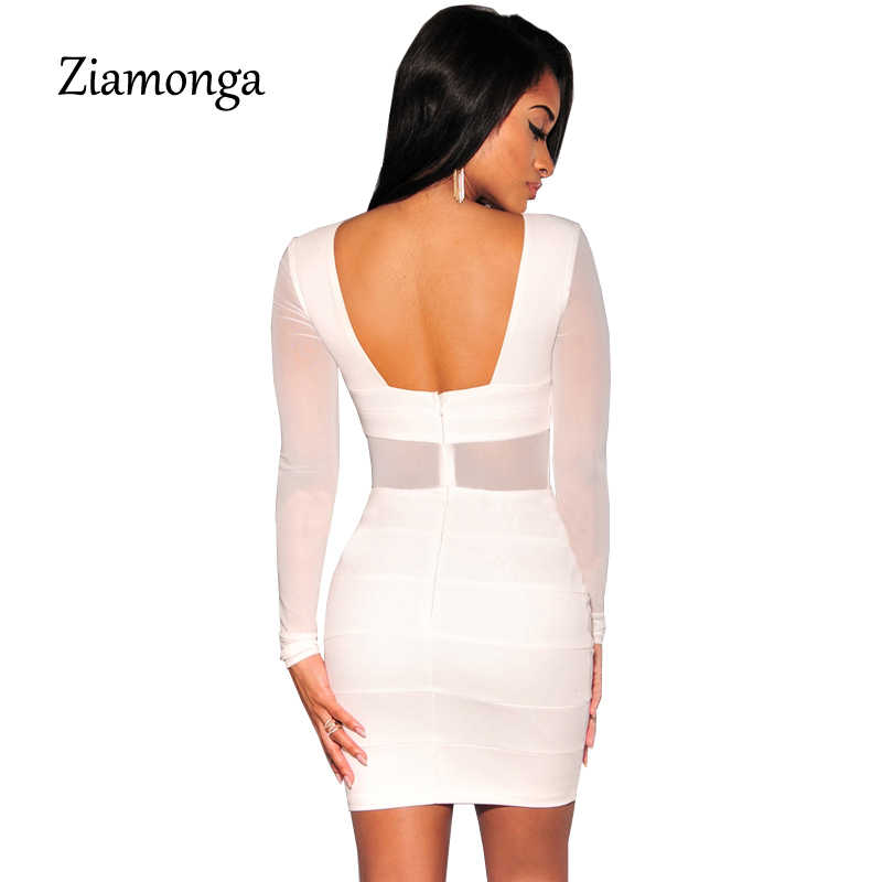 dc4ba8a2350 ... XS-XXL Sexy Bandage Dress New Winter Black White Dress Long Sleeve Mesh  Patchwork Hollow ...