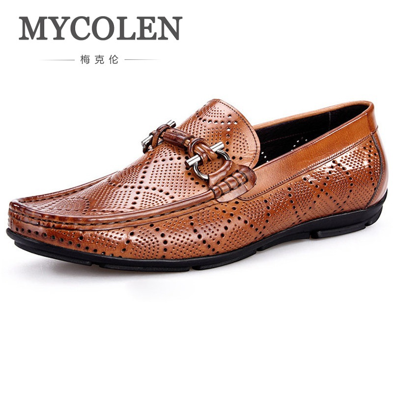 MYCOLEN 2018 New Style High Quality Breathable Men Shoes Genuine Leather Party Dress Shoes Men Business Brand Men Shoes 2016 new high quality genuine leather men business casual shoes men woven breathable hole gentleman shoes brand taima 40 45