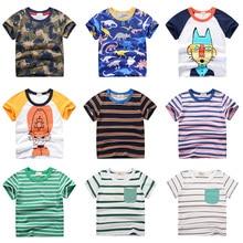 INPEPNOW/летняя детская одежда; футболка для мальчиков; хлопковые детские футболки с короткими рукавами и рисунком динозавра; Милая Повседневная футболка для мальчиков; От 2 до 10 лет DX-CZX279