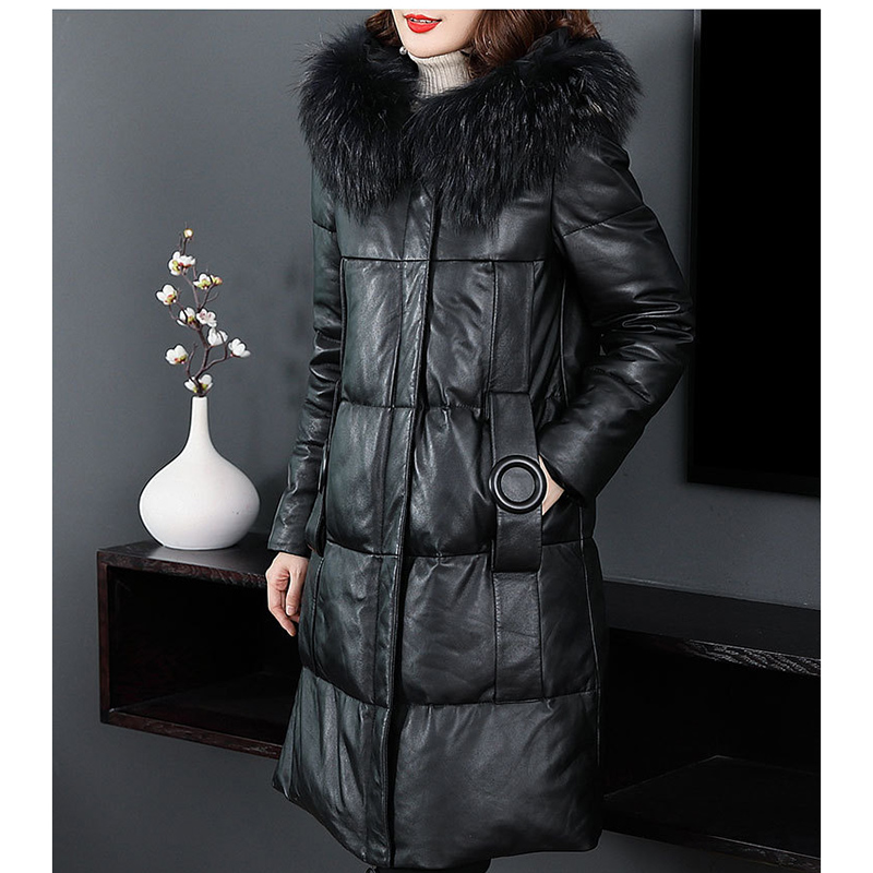 Leather   &   Suede   Hooded Winter Fashion Fur collar Women   Leather   Coat Large size Solid color High quality   Leather   Jacket NUW343