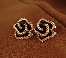Бесплатная доставка новая мода ювелирные изделия аксессуары прекрасные серьги Черный эмаль хрустальная Роза цветок большой уха клип серьги клипы женщины(China (Mainland))