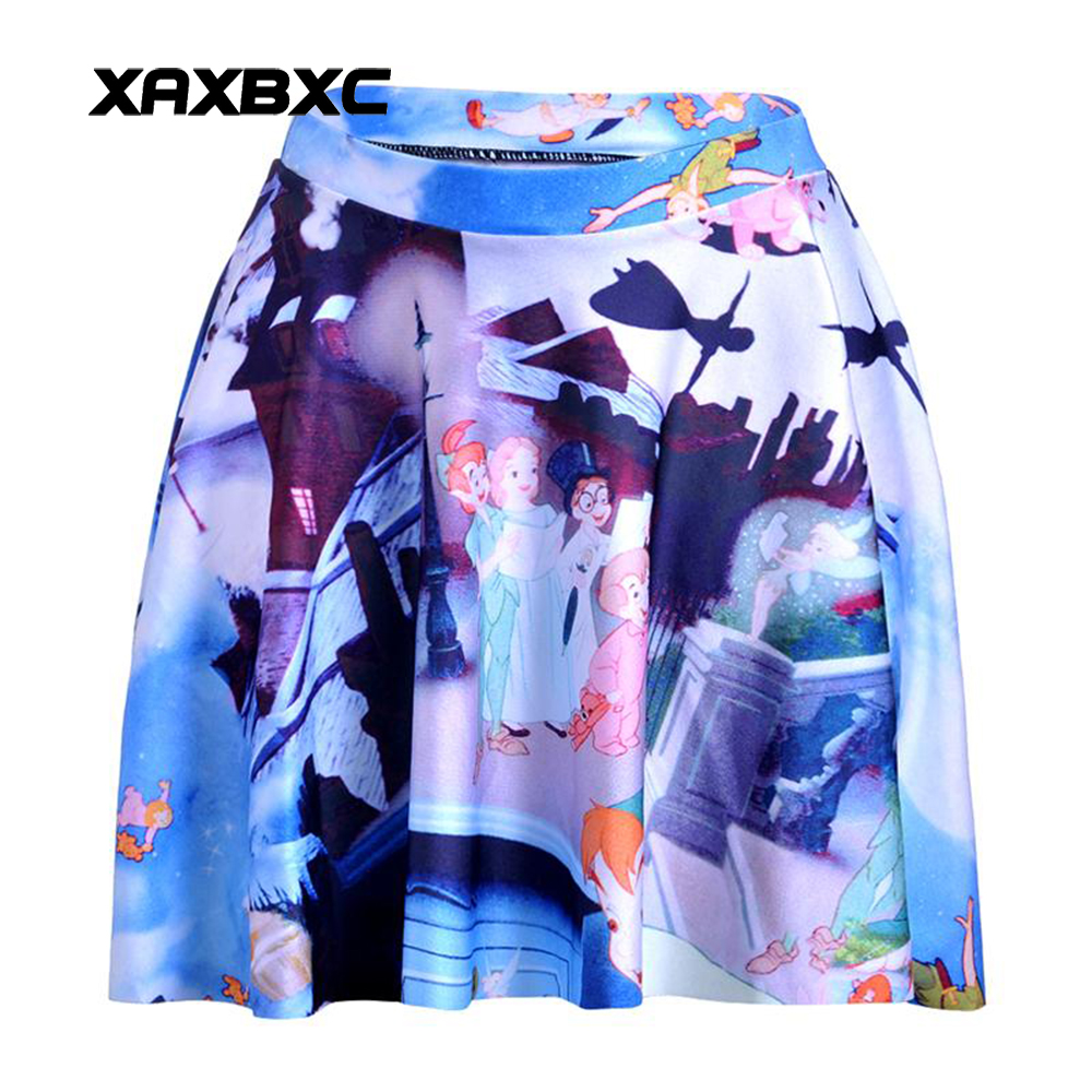 NEW 1143 Summer Sexy Girl Cartoon Peter Pan Big Hero Printed Cheering Squad Tutu Skater Women Mini Pleated Skirt Plus Size