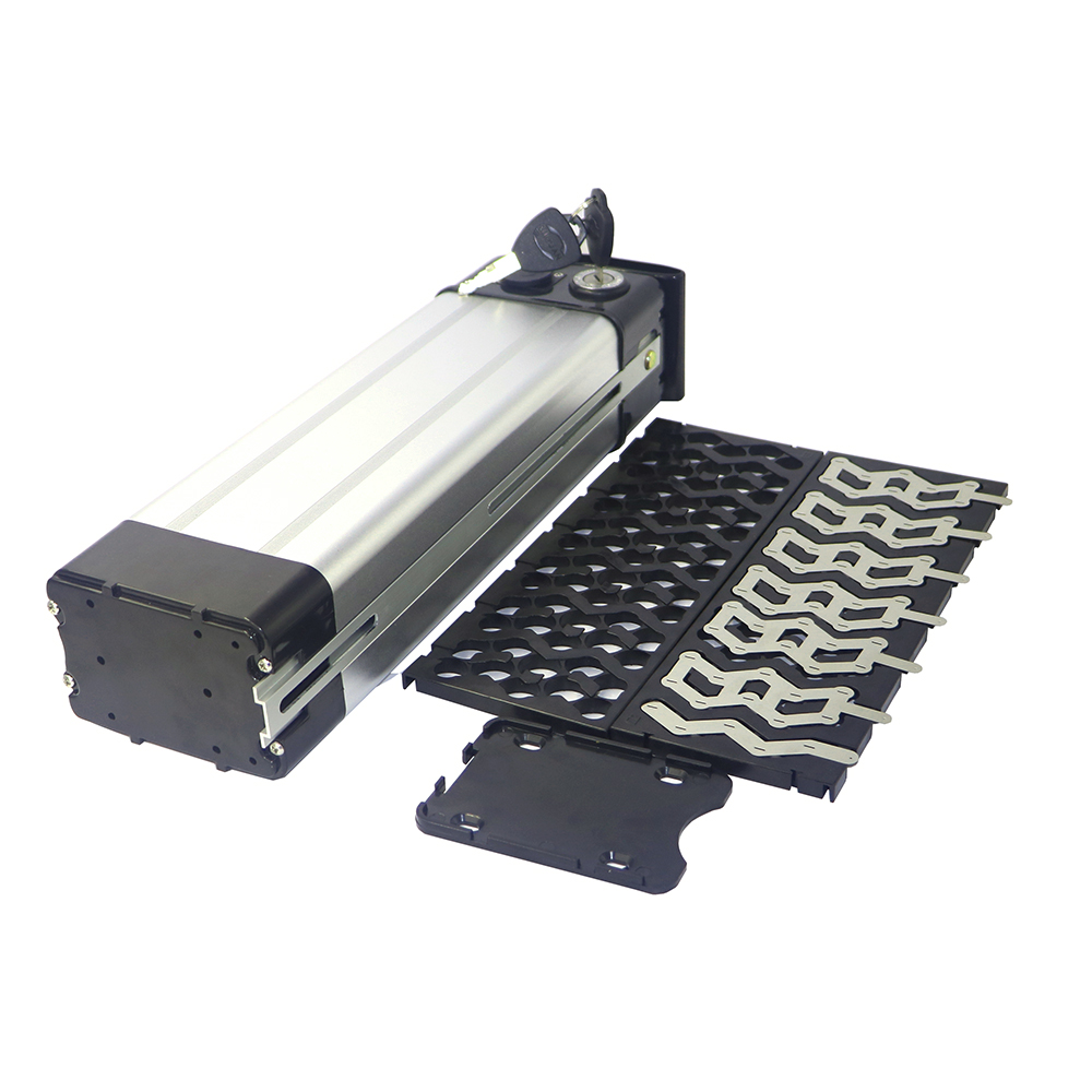 48V silver fish bicycle battery box plastic case with holder and Nickle strips