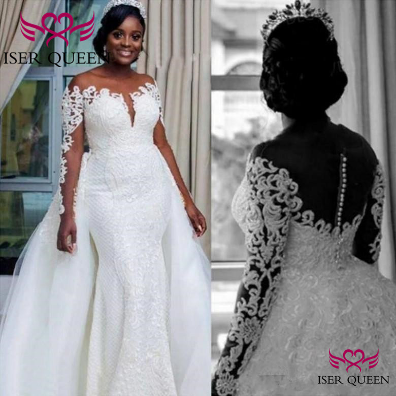 Lace Appliques Sheer Neckline Bride Dress Illusion and Button Back African 2 in 1 Mermaid Wedding Dress  w0595