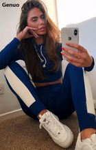 Genuo Winter Casual Tracksuit Women Patchwork Striped Two Piece Set Sportswear Thick Hooded Sweatshirt Crop Top and Pant Outfits цена 2017