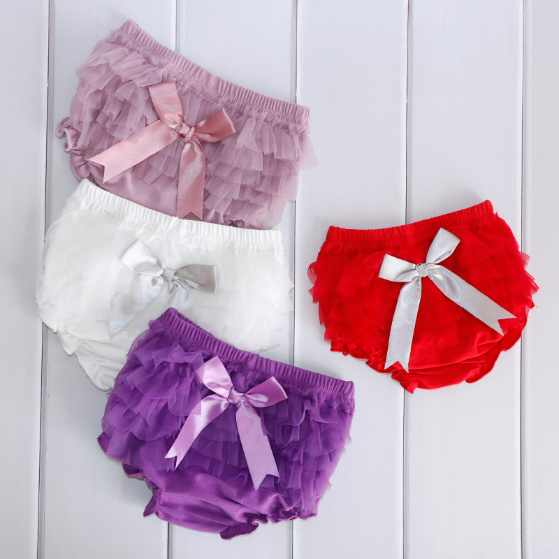 Baby Bloomers Princess Summer Girls pantalones cortos Ruffle Mesh Bow Infant Toddler Cotton Panties Cubiertas para pañales