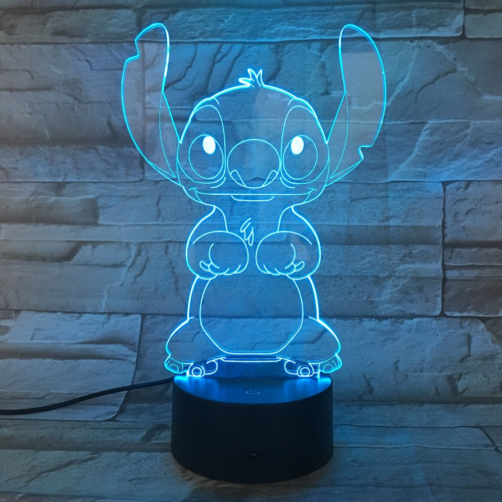 Cartoon Stitch 3D Lamp Bedroom Table Night Light Acrylic Panel USB Cable 7 Colors Change Touch Base Lamp Kids Gift 3D-812 kawaii animal lamp 3d led night light lovely cartoon rabbit multicolor change table home child bedroom decor kids birthday gift
