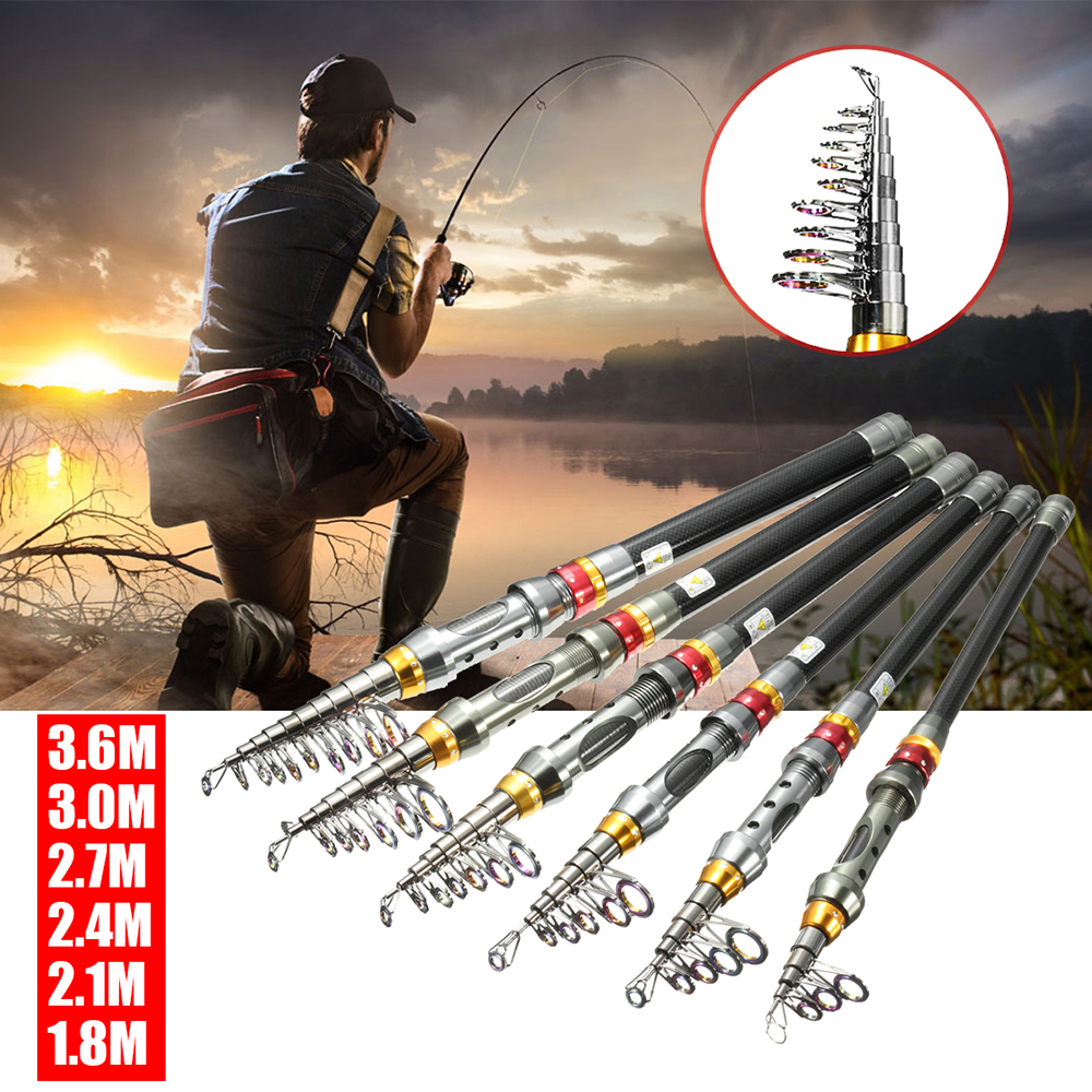 US Fishing Rod Ultralight Carbon Fiber Telescopic Portable Sea Spinning Pole