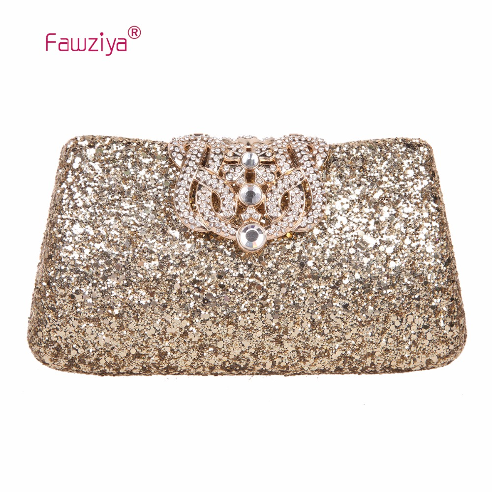 Fawziya Crown Glitter Clutches And Evening Bags Bling Clutch Purses For Women