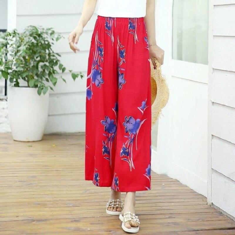 summer women   pants   slub yarn thin fabric print   wide     leg     pants   women summer trousers national style leisure   pants