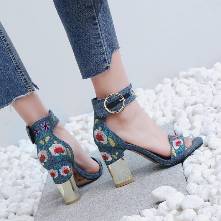 Bordado Vestido Correa Verano Altos Tobillo Zapatos Los Fiesta Punta Para El Tacones Mujeres En azul Beige {zorssar} Sandalias Las Abierta 43 De 2018 Tamaño Moda Aw4qtTHE