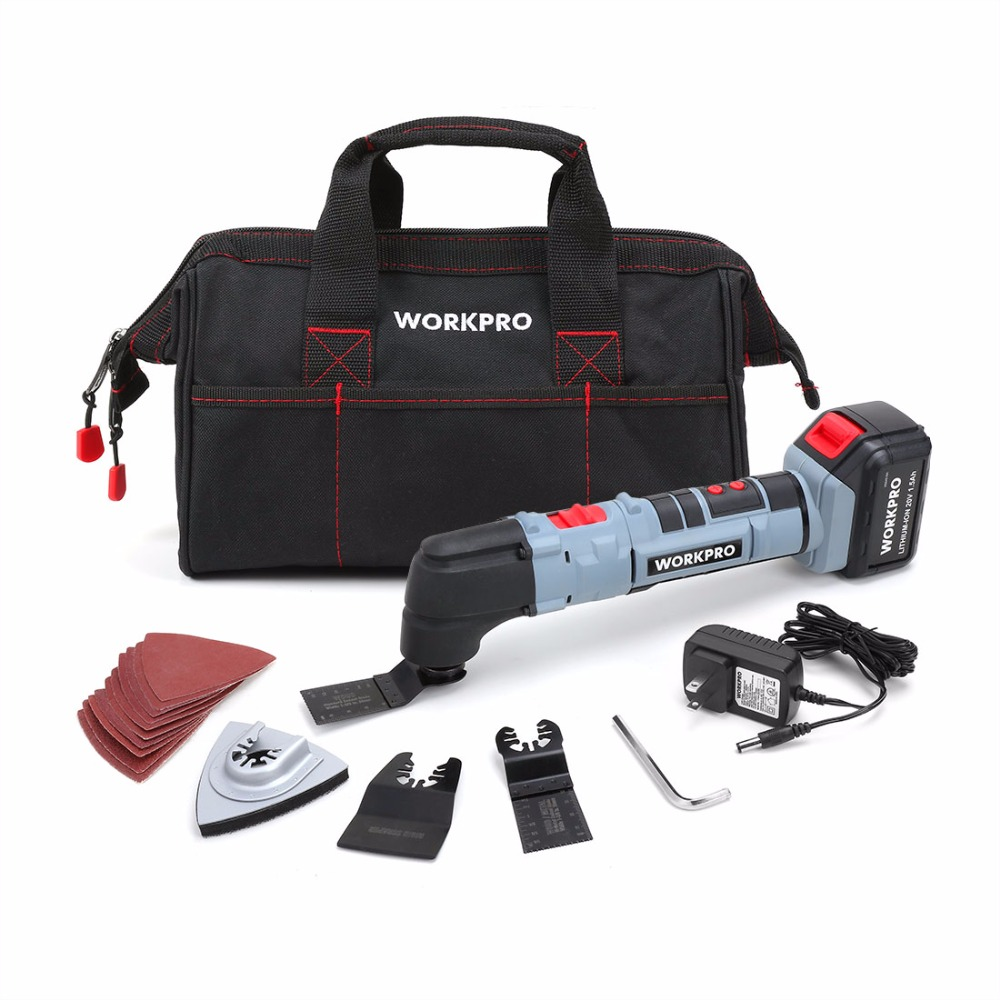 WORKPRO Multi Oscillating Tool Kit 20V Li-ion Oscillating Tool Home Electric Trimmer Electric Saw Woodworking Tools free shipping domestic woodworking high power electric tool portable electric planer