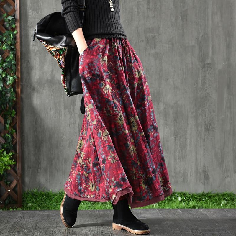 Femmes 2019 printemps nouveau rétro littéraire jacquard femme coton et lin jupe double-couche élégante demi-longueur jupe femme sauvage