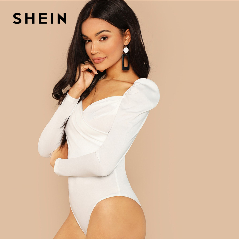 SHEIN White Elegant Office Lady Puff Sleeve Surplice Neck Ruched Solid Mid Waist Bodysuit 2018 Autumn Workwear Women Bodysuits 2