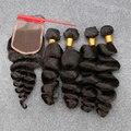 7A Cabelo Virgem Malaio Onda Solta Com Fecho de 4 Feixes tramas 100% cabelo Barato Não Transformados Tecer Cabelo Humano Com Fechamento DHL livre