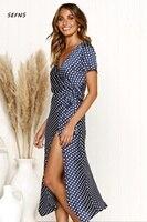 SEFNS women dress formal dress women elegant Asymmetrical Dot prints Mid Calf Vintage bodycon dress bow Short vestidos