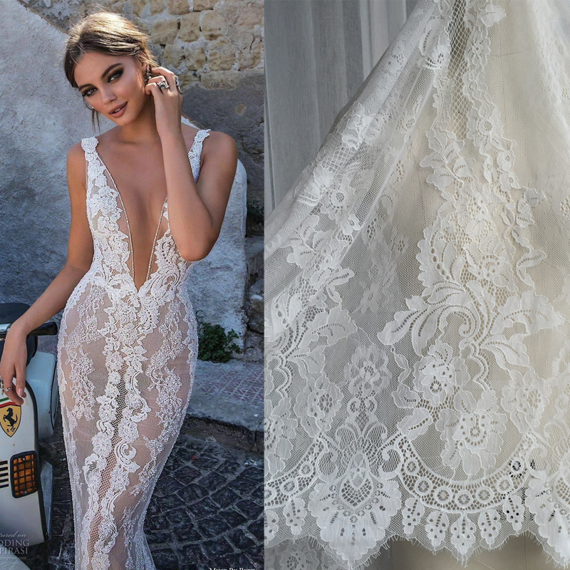 46e75df1e2 3M/pieces High Quality Bone line Eyelash Lace Fabric Diy Exquisite Lace  Embroidery Clothes Wedding